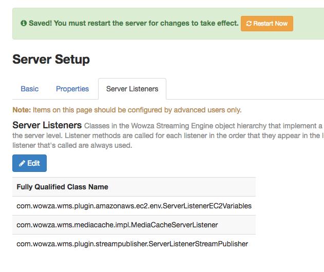 Wowza Streaming Engine ServerListenerStreamingPublisher