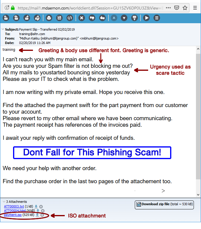 Phishing email using common Business Email Compromise tactics